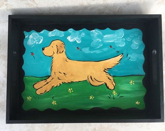 Golden Retriever hand painted wooden tray