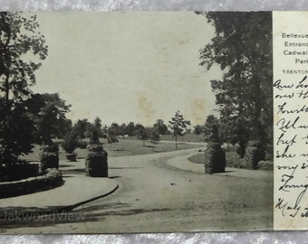 Trenton N.J. Cadwalader Park Postcard, Antique 1906 Ephemera, Bellevue Ave Entrance, New Jersey, FREE SHIPPING