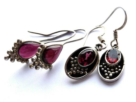 Garnet Earrings, Sterling Garnet, Gemstone Earrings, Oval Garnet, Teardrop Garnet, Oval Earrings, Teardrop Earrings, Oval Silver, Teardrop