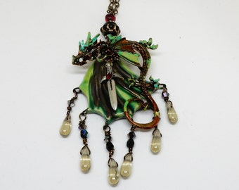 Dragon Necklace, Flying Dragon Necklace, Green  Dragon Jewelry, Dragon Thrones Necklace