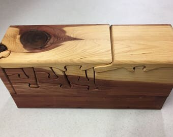 Handcrafted 24 Piece Red Cedar Puzzle Box with 2 secret pull out drawers and secret compartment