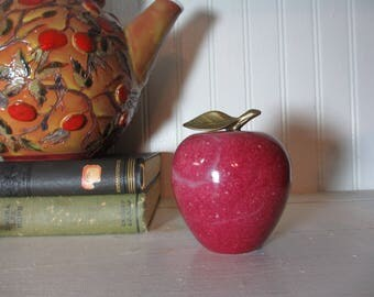 Red Marble, Alabaster Apple with Brass Leaf, Staging,  Home Decor