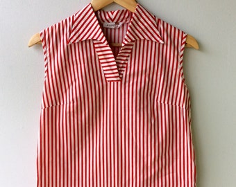 1950s Red and White Striped Vintage Top //Med