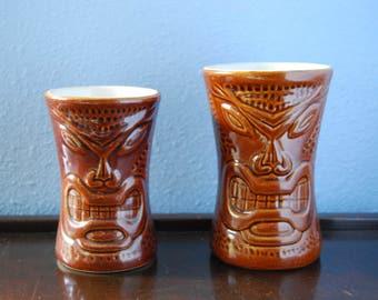 Pair of vintage Daga Tiki Mugs, Mid Century Tiki Mugs, Made in Hawaii, 2 Tiki Mugs From Maui
