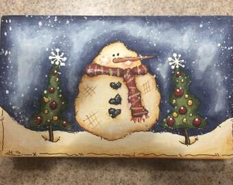 Snowman shelf sitter - hand painted - wood - FAAP - OFG