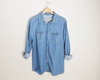 vintage perfect denim jean basic button up -- womens large