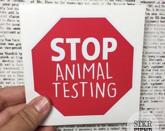 stop animal testing laptop decal or bumper sticker