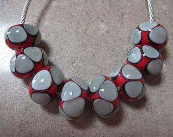 Lampwork Glass Beads. Red, Grey and Black Mosaic Dots. Handmade Glass Beads. Australian Artisan Beads. Kiln Fired Glass Beads.