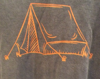 100% Cotton T-shirt Tent Denim Blue Long Sleeve