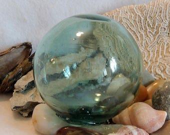 Vintage Japanese Glass Fishing Float.. Rare MADE IN JAPAN Kanji Maker's Mark  (#26)