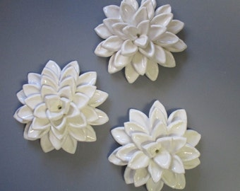 Ceramic White Puffy Dahlia 3 set, Ceramic Flowers, white puffy dahlia, floral art, flower blooms, ceramic wall sculpture, ceramic flowers