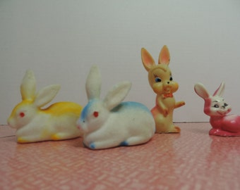 Bunny Collection Flocked Bunny Squeek Toy Bunny Hard Plastic Bunny Vintage Bunny Collection Easter Bunny