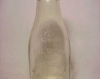 1927 K. Heidenreigh's Dairy Farm West Tewksbury, Mass., One Quart Size Milk Bottle