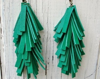 Bright Kelly Green Lambskin Leather Fringe Earrings