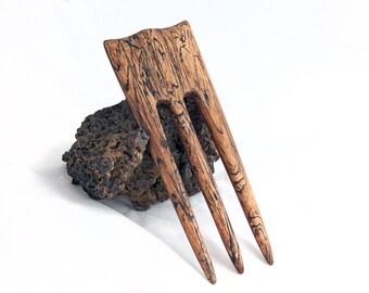 SPALTED TAMARIND & REDHEART Hair Fork - 3 Prong Hairfork
