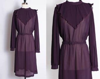 vintage purple sheer dress/ day dress/ secretary dress/ belted/ shirt waist/ bib neckline/ pleated neck/ bishop sleeves/ ruffle ascot collar