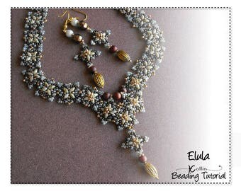 Beading Pattern, Peyote and Picot Stitch Necklace Beading Instructions. DIY Jewelry Necklace Beading Tutorial ELULA