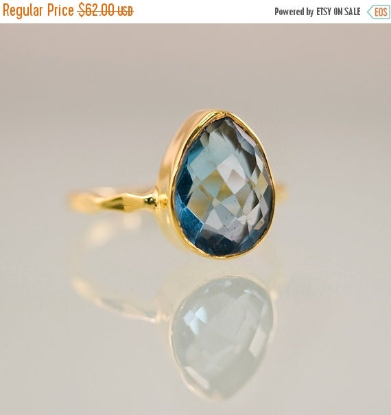 HOLIDAY SALE - London Blue Topaz Ring Gold - December Birthstone Ring - Gemstone Ring - Stackable Ring - Gold Ring - Tear Drop Ring