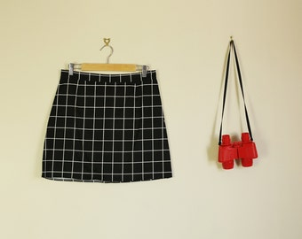 Black and White Grid Pencil Skirt High Waist Summer 90s Pin Up 60s 50s Wiggle Skirt