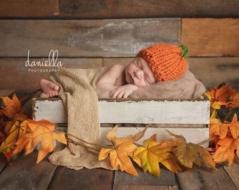 Knit Baby Pumpkin Chunky Hat // Photo Prop // Winter Hat Beanie