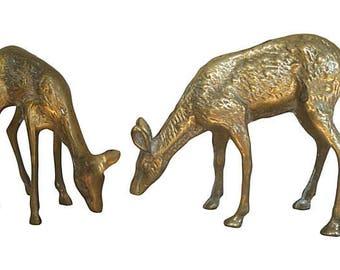 Vintage Brass Deer Figures, A Pair