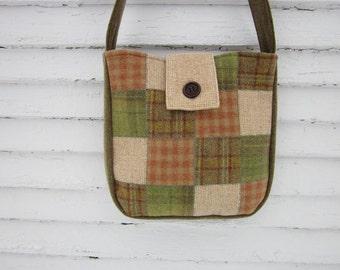 Wool patchwork crossbody bag, wool purse