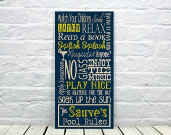 Swimming pool signs etsy for Pool design rules