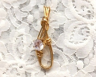 Crystal Free Form Pendant Wire Wrapped in 14K