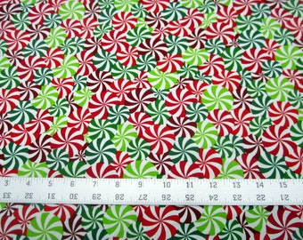 Christmas Holiday Cheer Candy Swirls from KANVAS by Benartex premium cotton fabric - end of bolt - 2 yd piece