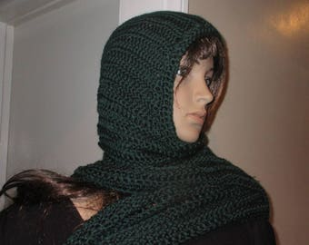 Dark Green Hooded Scarf Touch of Class Hood Scarf  Neck Warmer all in one Hand Crochet