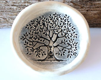 "PRE-ORDER 3"" Personalized Ring Dish, Tree of Life, Ceramic, Handmade Pottery, by RiverStone Pottery"