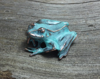 Sitting Frog copper sculpture with blue green patina