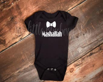 Mashallah Boy Onesie w/ Bow Tie, say Mashallah, Newborn gifts, baby shower gift, mashallah, Islamic, new born body suit, Boy babyshower gift