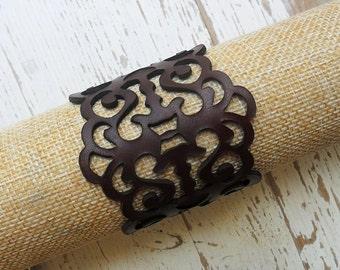 Laser cut leather bracelet , brown leather filigree bracelet , hand made , statement bracelet , boho bracelet , gothic jewelry