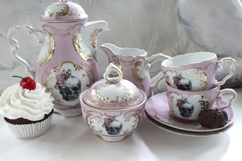 7 Piece Skull Tea Set Pink Amp Gold Customized Tea Set Skull