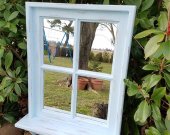 "Blue distressed window mirror 19"" x25"""