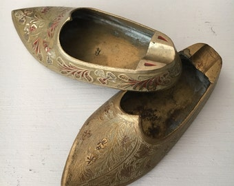 TWO piece set - Vintage set of Brass Slippers from India - Cigarette  or Incense holder -Beautiful Inlay and Etched Details!