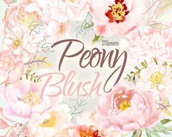 Blush peony clipart, peony flower watercolor clipart, pink floral clipart,sage and blush peony clipart, wedding clipart, cream peony clipart