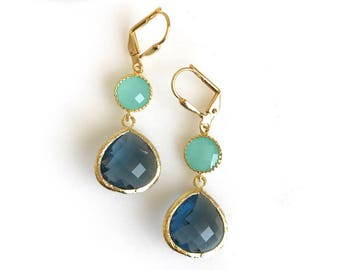 Sapphire and Aqua Dangle Earrings. Navy and Turquoise Glass Drop Earrings in Gold.
