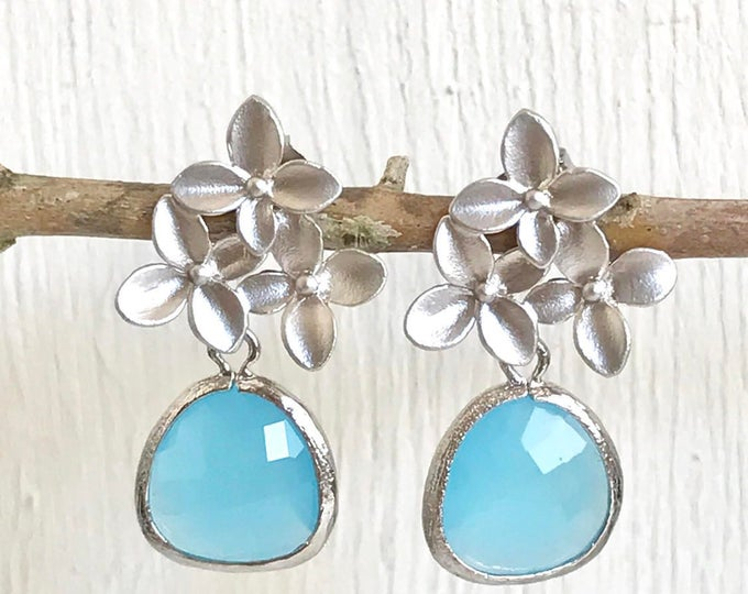 SALE - Sky Blue Drop and Silver Cherry Blossom Flower Post Earrings. Blue Bridesmaid Earrings. Drop Earrings. Fashion Earrings.