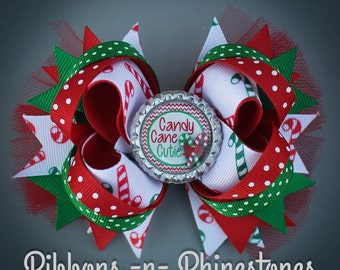 READY TO SHIP!  Christmas Bow, Christmas Hair Bow, Christmas Party Bow, Candy Cane Bow, Holiday Bow, Candy Cane Hair Bow, Red and Green Bow