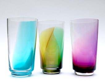 Set of 3 colorful pint glasses, hand blown