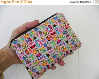 Clearance-Owls Small zipper accessory pouch