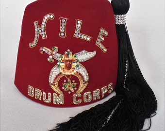 Beautifully Designed Rhinestone Red Shriner Fez Hat NILE Drum Corps Extra Fancy With Tassel And Original Zippered Bag GREAT CONDITION