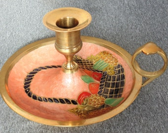 Gatco Enamel Over Solid Brass Candle Stick Holder With Handle & Under Tray Fruit Basket Design Made In India NICE