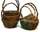 Twig Basket Collection - Set of 6 Vintage Woven Egg Baskets - Primitive Rustic Country Farmhouse Wedding Decor - Easter Baskets