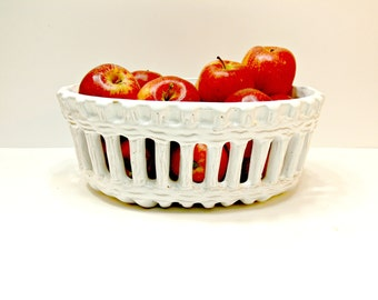 White Pottery Lattice Bowl - Made in Italy - Large Vintage Ceramic Reticulated Pierced Basket Decorative Fruit Bowl