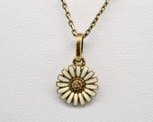 "Georg Jensen Sterling Silver Gold Plated Daisy 16"" Adjustable Necklace"