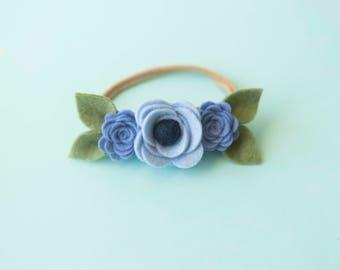 Felt Rose Headband, Baby Flower Crown, Baby flower headband, Newborn headband, baby headband, blue flower headband, blue headband