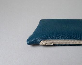 Mini pouch / card holder / coin purse - dark petrol leather & ecru zipper
